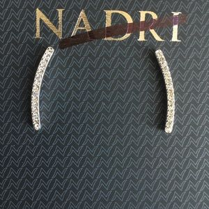 Nadri Curved Crystal Pave Bar Stud Earring